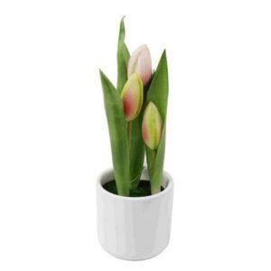 עציצון מלאכותי עם פרחי טוליפ בצבע אפרסק